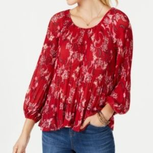 Style & Co Medium Petite Pleated Peasant Top Red